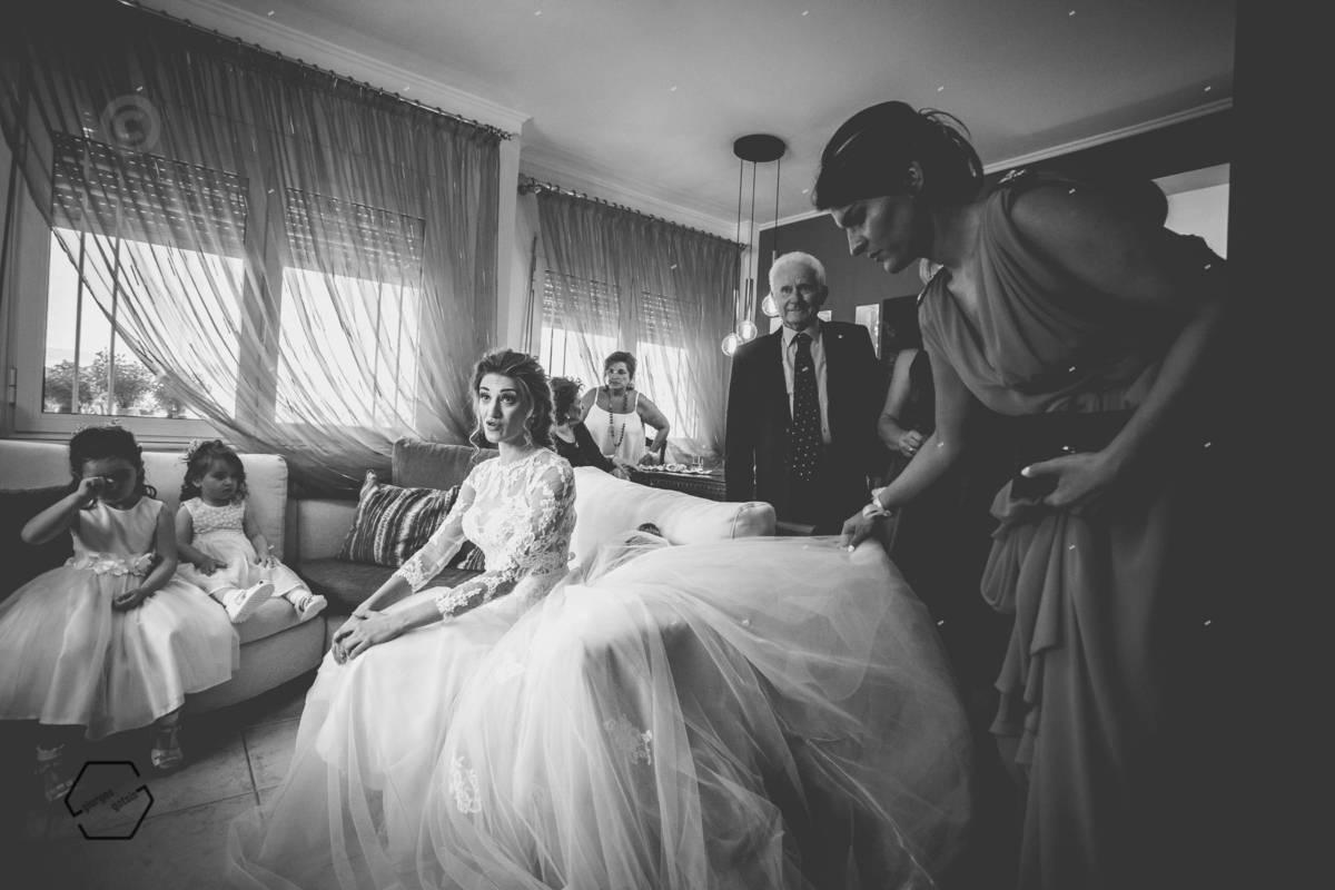 bride preparation bw