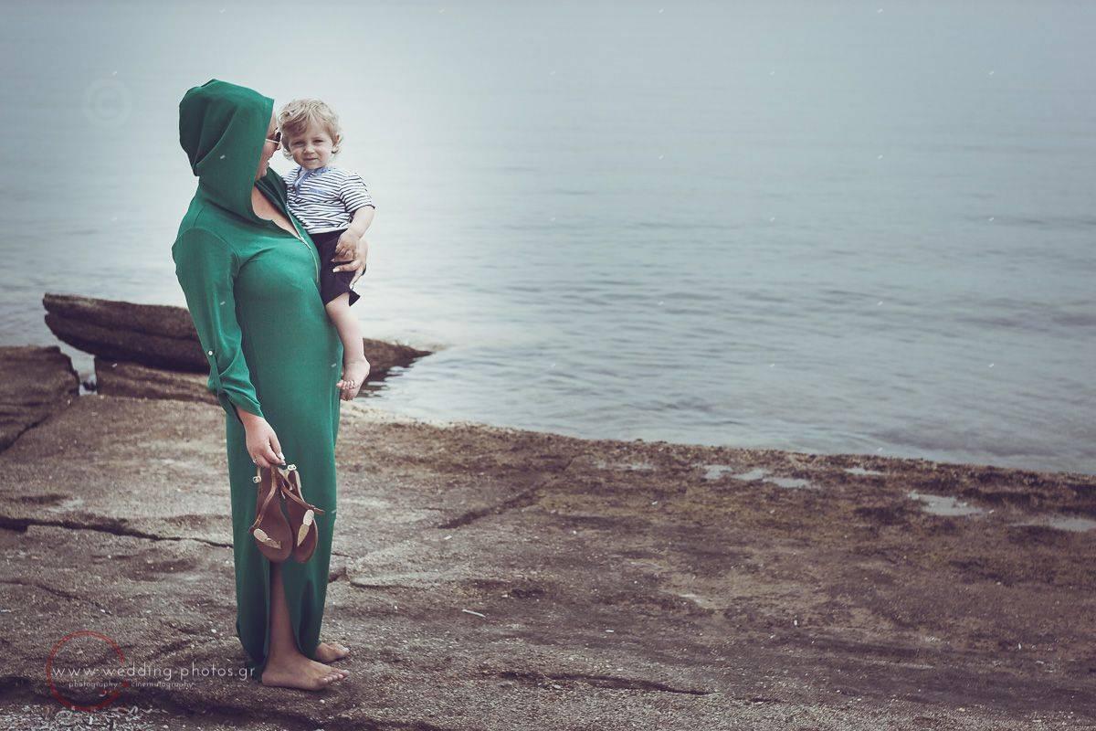 mom and son on the beach