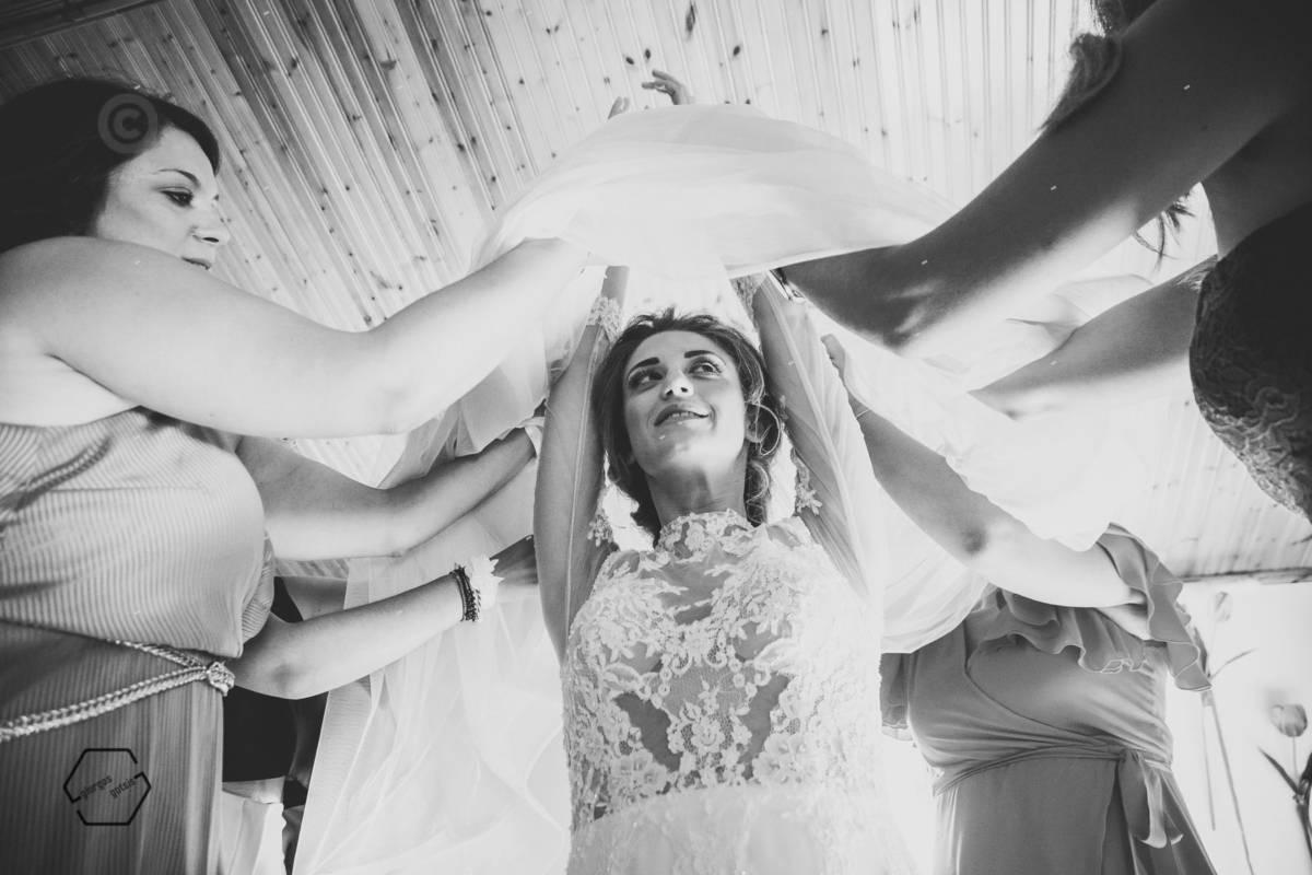 wearing the bride dress